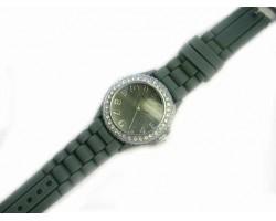 Gray Ceramic Silicone Strap Crystal Rim Watch