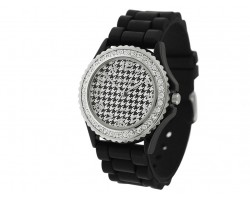 Houndstooth Black & White Silicone Watch