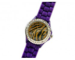 LSU Tiger Silicone Strap Crystal Rim Watch Large