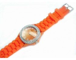 Orange Ceramic Silicone Strap Crystal Rim Watch