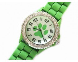 Lime Green Paw Print Silicone Strap Crystal Rim Watch