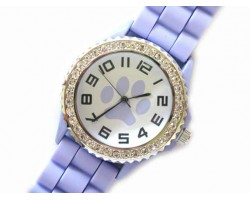 Light Purple Paw Print Silicone Strap Crystal Rim Watch