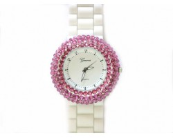 White Silicone Fuchsia Crystal Encrusted Rim Watch