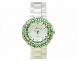 White Silicone Peridot Crystal Encrusted Rim Watch