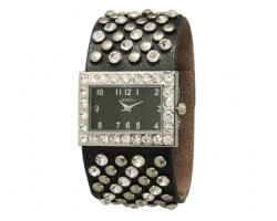 Black Wide Band With Crystals and Studs Square Face Watch