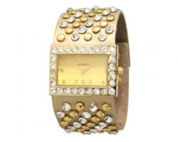 Gold Wide Band With Crystals and Studs Square Face Watch
