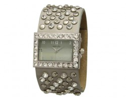 Gray Wide Band With Crystals and Studs Square Face Watch