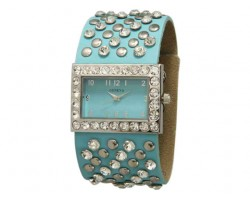 Light Blue Wide Band With Crystals and Studs Square Face Watch