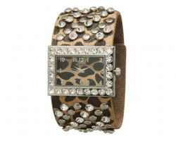Leopard Wide Band With Crystals and Studs Square Face Watch