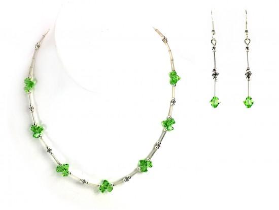 Peridot Swarovski Crystal Cluster Necklace Set