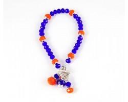 Blue Orange School Colors 3 Bead Charm Toggle Bracelet