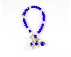 Blue White School Colors 3 Bead Charm Toggle Bracelet