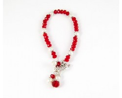Red White School Colors 3 Bead Charm Toggle Bracelet