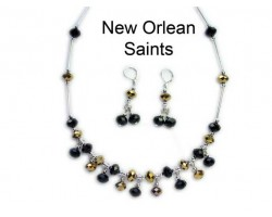 Saints Jet And Gold Crystal Bead Charm Necklace Set