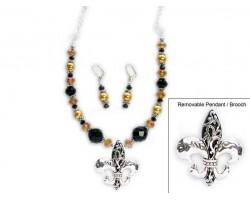 New Orleans Saints Crystal Necklace Set