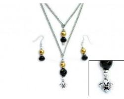 Black And Gold Saints Fleur-De-Lis Double Chain Necklace Set