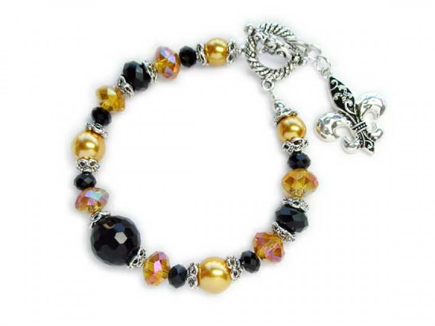 Black And Gold New Orleans Saints Toggle Bracelet