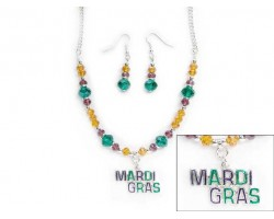 Mardi Gras Crystal Necklace Set
