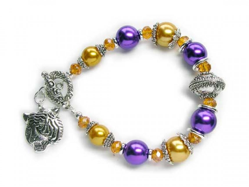 Lsu Purple Gold Pearl With Tiger Charm Toggle Bracelet