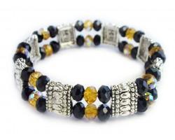 Black Gold Crystal Double Stretch Bracelet