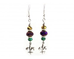 Mardi Gras Crystal Fleur De Lis Hook Earrings