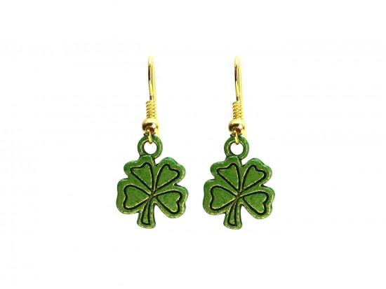 Green Clover Hook Earrings