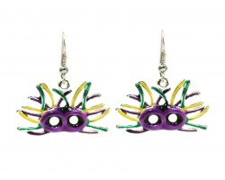 Mardi Gras Feather Face Mask Hook Earrings