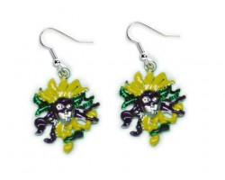 Mardi Gras Face Mask Purple Green Feathers Earrings