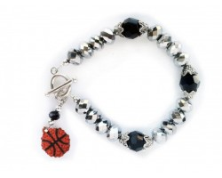 Silver Black Crystal Basketball Toggle Bracelet