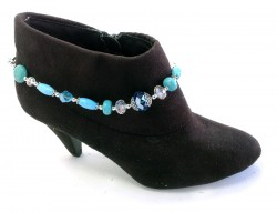 Turquoise Dyed Stone With Crystal And Silver Plated Rose Chain Shoe Boot Jewelry