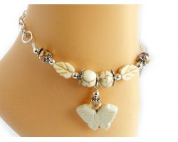 Beige 3-D Butterfly and Leaf Crystal Anklet Bracelet