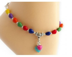 Multi Color Dyed Stone Hearts Anklet Bracelet