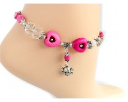 Antique Silver Skull and Bones Hot Pink Heart Anklet Bracelet