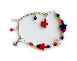 USA Vote Dyed Stone Star Bead Anklet
