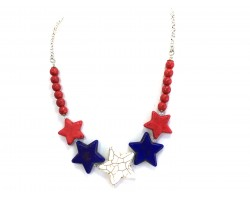 USA Large Dyed Stone Star Bead Necklace