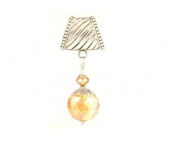 30mm Peach Facet Extra Large Crystal Pendant Scarf Slide