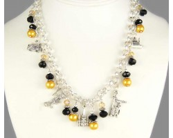 New Orleans Charm Black & Gold Crystal Pearl Necklace Set