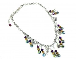 Mardi Gras Metallic Crystals NOLA Charm Necklace Set