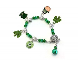 Green Saint Patrick's Day Charm Crystal Bracelet
