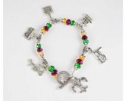 Mardi Gras NOLA Charm Crystal Bracelet