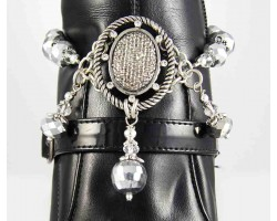 Hematite Pave Oval Roped with Crystal Shoe Boot Jewelry
