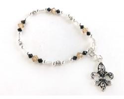 Black Gold Crystal Fleur De Lis Charm Bracelet