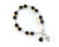 Silver Fleur De Lis Black Gold Crystal Bracelet