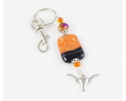 Texas Longhorn Orange Dyed Agate Key Chain