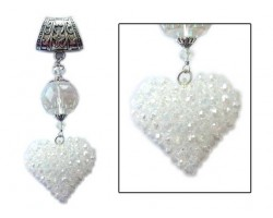 "CAB Crochet Bead 2"" Heart Large Crystal on Scarf Chain Slide"