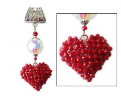 "Red Crochet Bead 2"" Heart Clear Crystal on Scarf Chain Slide"