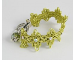 Light Olivine Brocade Cord Crystal Charm Bracelet