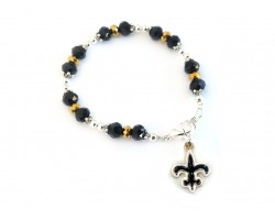 Saints Football Fleur De Lis Crystal Bracelet