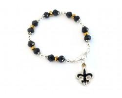 Saints Football Fleur De Lis Crystal Bracelet
