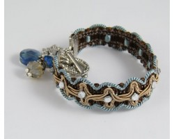 Blue Denim Brown Brocade Crystal Charm Bracelet